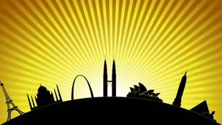 A silhouette of some of the world's most famous landmarks against a rising sun
