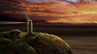 Animation with a lighthouse beaming light out to sea at sunset. Clouds roll by and flocks of birds fly across the frame