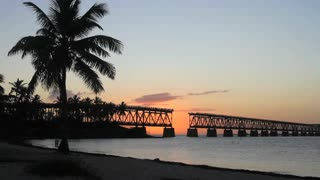 The historical bridge at Bahia Honda State Park in the Florida Keys at sunset