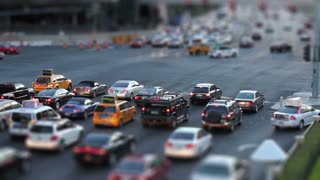 Tilt-shift shot of a busy intersection in Las Vegas, shot at dusk