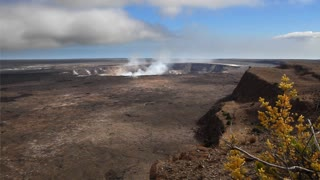 Time lapse of the crater at Kilauea in Hawaii as steam vents out