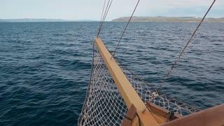 A ship on the high seas. Croatia. Makarska slow motion