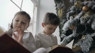 Close up, brother and sister sitting on the window sill of a large window near a christmas tree and reading books. Winter holiday slow motion