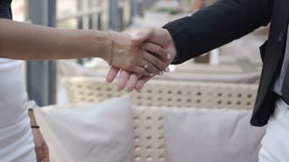 close-up of business partners handshake in honor of the contract 4k