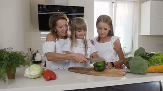 Mom and two her daughters cook in the kitchen: woman cuts vegetables, green peppers to make a salad, and teaches the girls. Cute family from mom and two girls prepare vegetarian salad at home in the