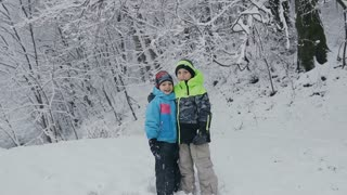 Two adorable little boys having fun together in beautiful winter park. Beautiful brothers playing fall down in a snow. Winter activities for kids slow motion