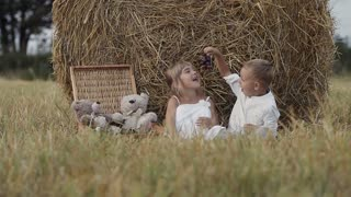 Two happy children have fun in the field with bundles of straw and eat grapes. Sunset. Little boy and girl slow motion