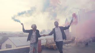 Woman having a fun with smoke bomb Stock Video Footage - Storyblocks Video