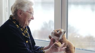 A cheerful positive old woman playing with a soft toy by the window. lonely crazy grandmother