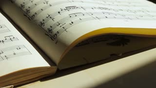 An old book with musical notes. Close up