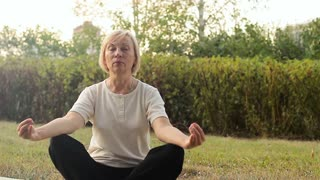 Best ager women practicing yoga and tai chi outdoors. Elderly woman meditating