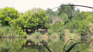 Fishing on the lake. Fish bite.
