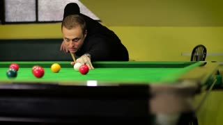 negative emotions on the face of a player in a snooker of not getting into the pocket
