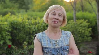 Portrait of an elderly positive woman