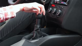Shifting Gear Stick in Manual Car, Close Up