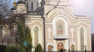 The building of the Orthodox Church in the afternoon. Exterior. Glare