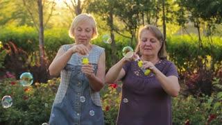 Two elderly women blowing bubbles. Elderly female friends having fun in the park together