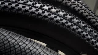 Close up of a tires on the bike.
