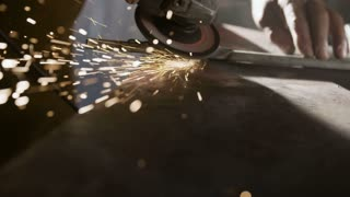 Sparks of an electric grinder.