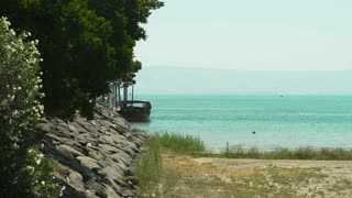 A Boat rests on a dock at the Sea of Galilee