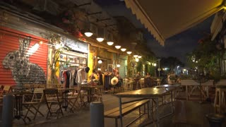 A fashionable dining and shopping street in Jaffa/Tel Aviv at night