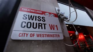 A mounted sign marks TheatreLand / Swiss Court W1/ Westminster