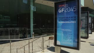 A sign advertises an upcoming GF2045 conference outside Lincoln Center, NYC