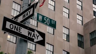 A Street Sign marks West 50th Street in New York City