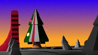 A stylized animated christmas Tree Rocket takes off from a winter launchpad