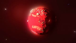 A stylized, low poly, 3d animated Mars rotates, orbited by satellites.