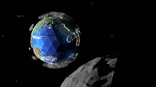 A view of a stylized 3d animated Earth from an orbiting moon with Alpha Channel