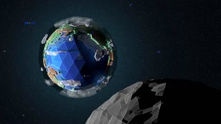 A view of a stylized, low poly, 3d animated Earth from an orbiting Moon