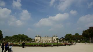A wide, big sky view Luxembourg Gardens, Paris France