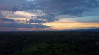 Aerial Drone travels over Haitian sunset