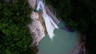An Aerial Drone Travels High Over a Haitian Waterfall