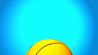 An animated basketball rises to the center of frame against a blue backdrop.