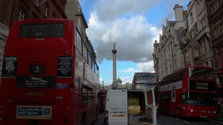 Busy Double-decker Bus traffic in the  center of London