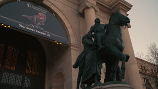 Dusk Shot of Equestrian Teddy Roosevelt Statue outside Natural History Museum