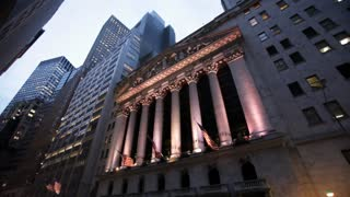 Evening View of the Iconic Entrance to Wall Street's Stock Exchange