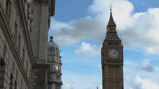 Looking Up at London's Big Ben Clocktower on a beautiful day