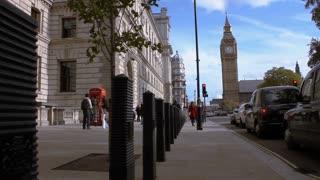 Low Angle Pan along London Street Near Big Ben Clocktower