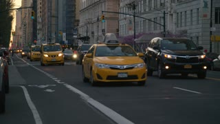 New York City Evening Traffic Near 75th Street and Central Park
