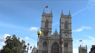 Pan Across the exterior of Westminster Abbey on a clear London Day