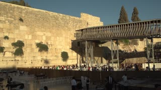 Pan from the Female to Male sections of the Wailing Wall