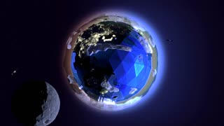 The Moon passes a stylized 3d animated earth and its orbiting satellites