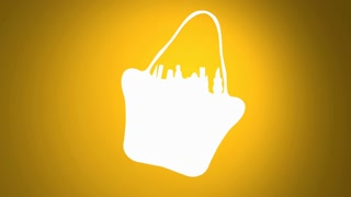 The Products inside a white silhouetted shopping bag fly out. Orange backdrop