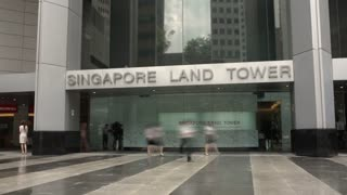 Timelapse of Pedestrian Traffic outside Singapore Land Tower