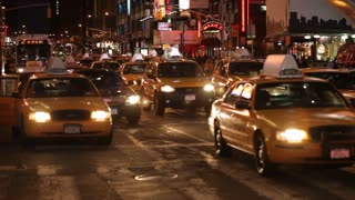 Yellow Taxis are most of the traffic in NYC at night near Broadway