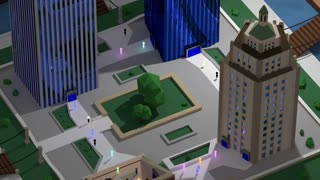 Zoom out on a bustling lowpoly 3d city surrounded by suburbs