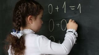 a little girl decides to examples on the blackboard